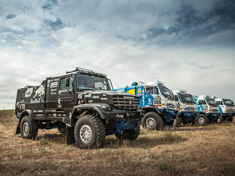 Trucks of the Team KAMAZ Master get ready prior the Kagan Gold race in Astrakhan, Russia on April 26th, 2016.